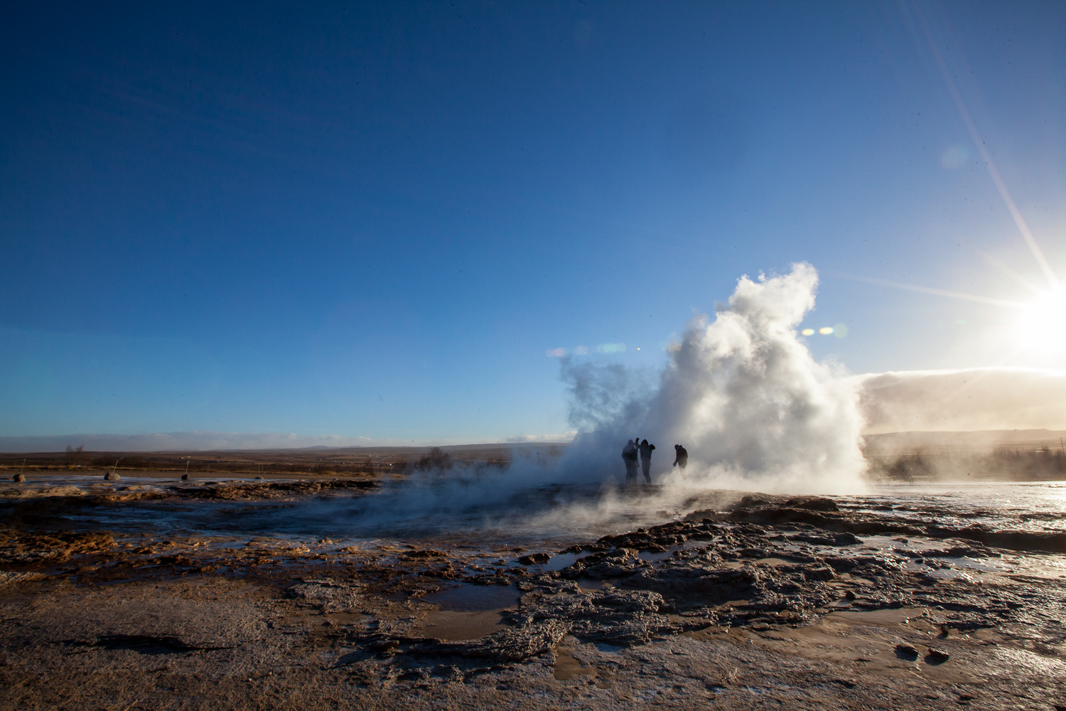 Members of Vacationer & Blouse enjoy the Geysir Spray