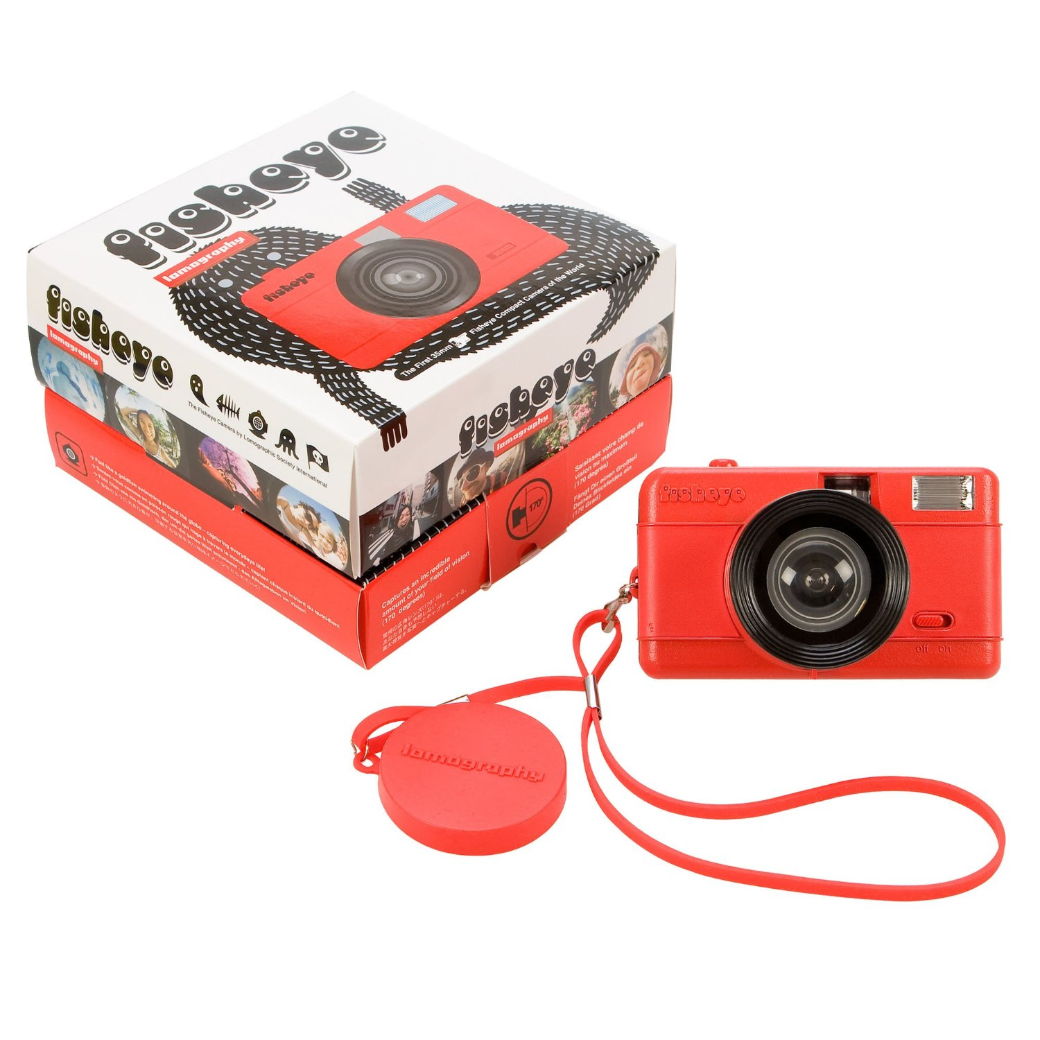 Lomography FishEye Point-n-Shoot 35mm Camera, Red