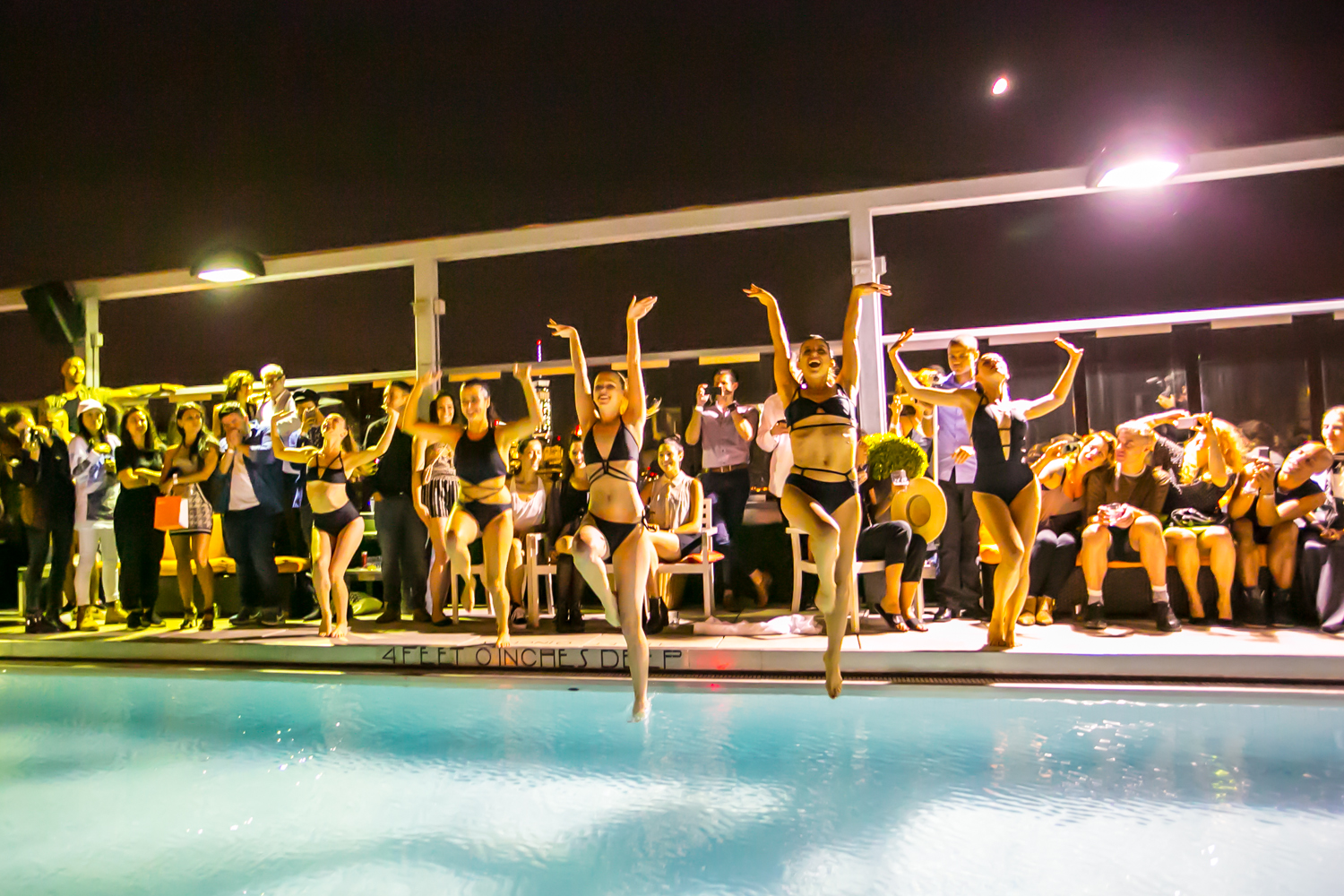Aqualillies synchronized swim performance in BOND by Chromat